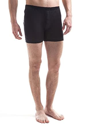 Jasmine Silk Mens Pure Knitted Silk Boxer Shorts Black (Small)