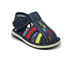 EASY21 Cute Close Toe Infant Toddler Boys Summer Sandal with Velcro Baby-305,Denim,Size 8
