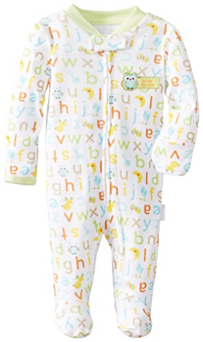 Vitamins Baby Baby-Boys Newborn Awake Owl Footed Coverall, White, 9 Months front-878366