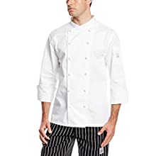 San Jamar J007 Luxury Cotton Corporate Chef Jacket with White Piping and Hand Rolled Button Style, Medium, White