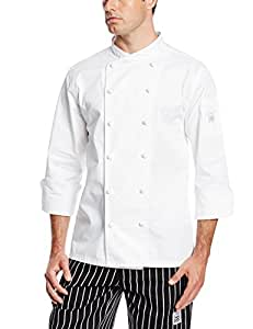 Chef Revival J007 Luxury Cotton Corporate Chef Jacket with White Piping and Hand Rolled Button Style, 4X-Large, White