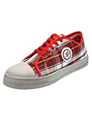 Yepme Men's Red & White Canvas Canvas Shoes