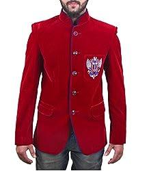 FashionSeva Men's Blazer (Blaz-1000_Red Blue_42)