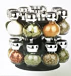 16 PIECE GLASS SPICE JAR SET REVOLVIN...