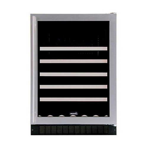 Luxury 45 Bottle Single Zone Build-In Wine Refrigerator Finish: Stainless Steel, Hinge Location: Left