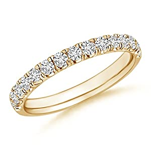 Round Diamond Half-Eternity Women's Wedding Band in 14K Yellow Gold