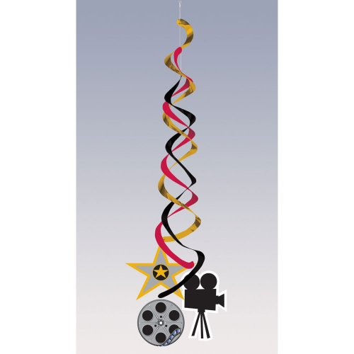 Creative Converting Reel Hollywood Deluxe Metallic Hanging Decorations, Mylar and Paper Movie Themed Danglers - 1