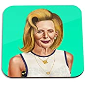 Margaret Thatcher Wooden Coaster - Pop Art Modern Contemporary Decorative Art Coaster, Hipstory Project By Amit...