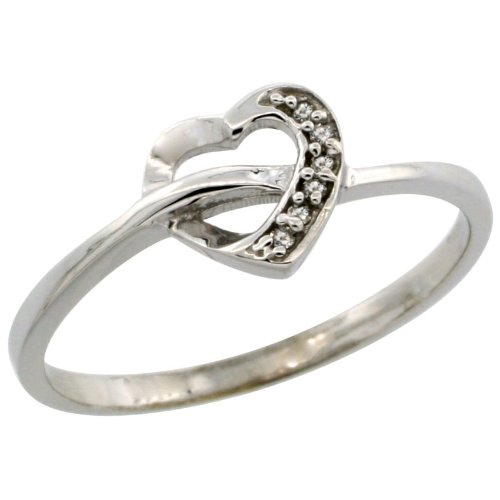 14k White Gold Heart Cut Out Diamond Engagement Ring w/ 0.022 Carat Brilliant Cut Diamonds, 1/4 in. (7mm) wide, size 9
