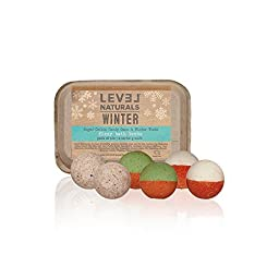 LIMITED EDITION: Level Naturals Bath Bombs - Winter Bath Bomb Variety 6 Pack (2 x Sugar Cookie, 2 x Candy Cane 2 x Winter Woods) - MYFOOTPRINT.IS EXCLUSIVE