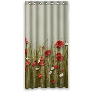 poppy flowers bathroom shower curtain 36 x 72 home kitchen. Black Bedroom Furniture Sets. Home Design Ideas