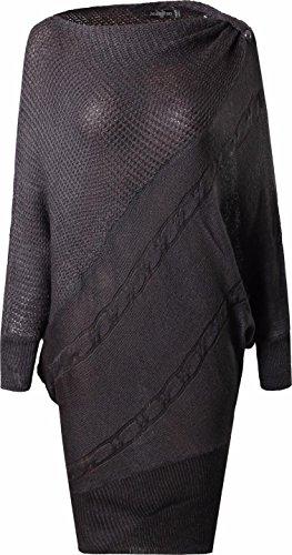 jeansian Donna Moda Autunno Fascino Sciolto Bat a Maniche Lunghe Maglione Sweater WKD301 Gray