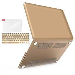 iBenzer - 3 in 1 Soft-Skin Plastic Hard Case Cover & Keyboard Cover & Screen Protector for Macbook Pro 15.4\'\' with Retina Display NO CD-ROM (A1398), Gold MMP15R-GD+2