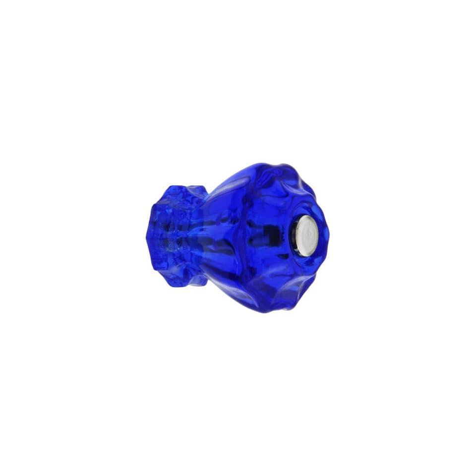 Medium Fluted Cobalt Blue Glass Cabinet Knob With Nickel Bolt. Kitchen Glass Knobs.