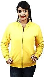 Absurd Women's Reversible Collar Jacket (ABWS14-628-YELLOW-L, Yellow, L)