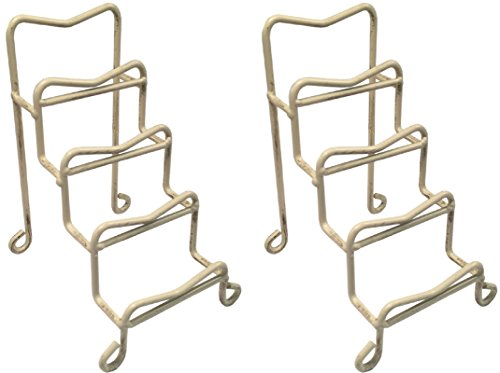 Manual Decorative Wrought Iron Mini Plate Holder Display Rack Stand Holds 4 Plates, MPRMSL, Set of 2