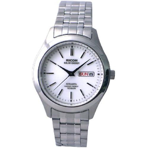 [リコー]RICOH 腕時計 ATRANTA(アトランタ) ソーラー充電 アナログ表示 スタンダード 10気圧防水 バーインデックス ホワイト 697004-13 メンズ