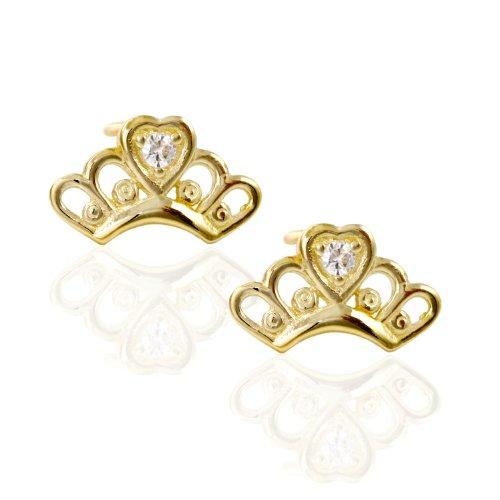 14k Yellow Gold Crown CZ Stud Earring