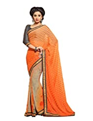 AG Lifestyle Orange & Grey Faux Georgette & Jacquard Pallu Saree With Unstitched Blouse ELG8009