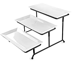 Tiered Serving Set - Thicker, Adjustable Metal Rack - 3-Tier White Porcelain Platter Set (White Porcelain, 3-Tier)