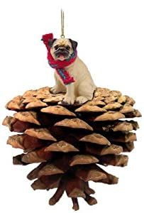 Fawn Pug Real Pinecone Dog Christmas Ornament