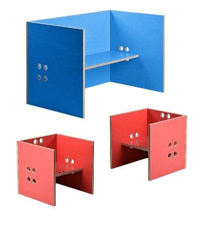 Kindersitzgruppe – Kindermöbel – 2 Kinderstühle + 1 Kindertisch / Bank. Freie Kombination der Farben möglich! (Stühle / Hocker rot, Tisch / Bank blau)