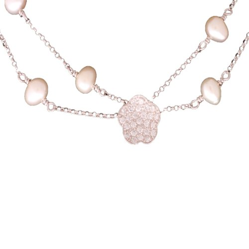 Dazzling Sterling Silver with Rhodium Overlay Double Strand Pearl Necklace with Flower Shape Enhancer!