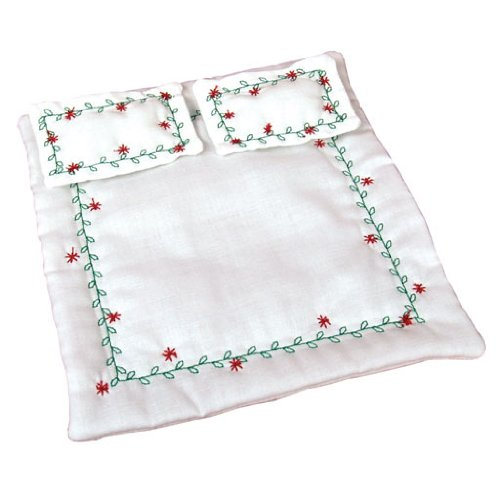 Dollhouse Miniature White Poinsettia Comforter Set