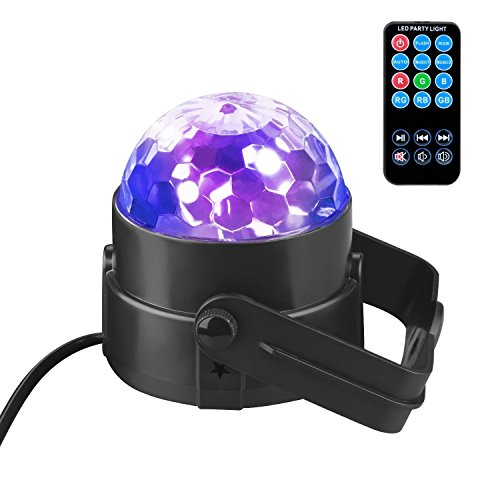 Led Stage  Party Light ,3W Led Strobe Stage Projector Lights RGB Voice-activated Crystal Magic Rotating Led Par Lighting with Remote Control for Halloween DJ Bar Karaoke Xmas Wedding Show Club Pub