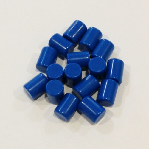 Plastic Cylinders: Set of 16 Blue Color Board Game Playing Pieces (Tokens & Markers, Colored School Classroom Supplies, Arts & Crafts Projects, Teaching & Education Toy Resource Components, Extra Instructional Play Materials) - 1