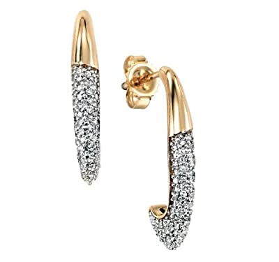 9ct Yellow Gold Half Hoop Earrings with 0.18ct Genuine Pave Diamonds - Supplied in Gift Box