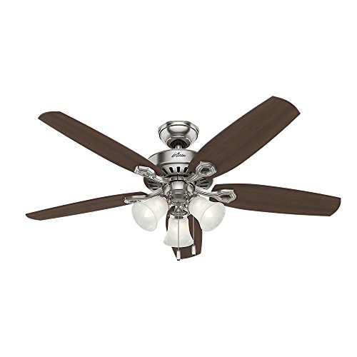 Hunter 53237 Builder Plus 52-Inch Ceiling Fan with Five Brazilian Cherry/Harvest Mahogany Blades and Swirled Marble Glass Light Kit, Brushed Nickel (Fans Hunter compare prices)