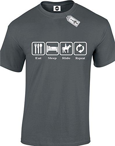 Eat Sleep Ride da uomo, unisex adulto, motivo T-Shirts. consegna gratuita inclusi. Nero  grigio