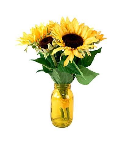 Creative Displays Sunflowers in Mason Jar, Yellow/Green