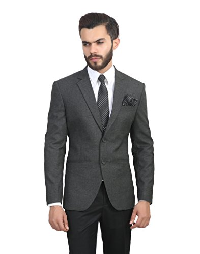 ManQ Charcoal Grey Slim Fit Formal/Party Men's Blazer