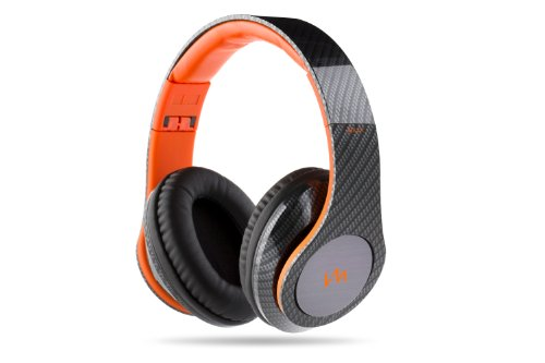 Vm Audio Elux Over Ear Dj Stereo Mp3 Iphone Bass Headphones -Carbon Fiber/Orange
