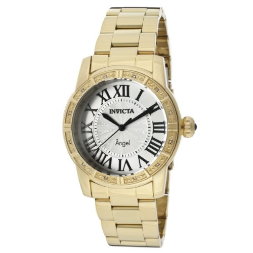 Invicta - 14374-Angel Women's Quartz Analogue Watch-Steel Strap Silver Dial Gold Plated