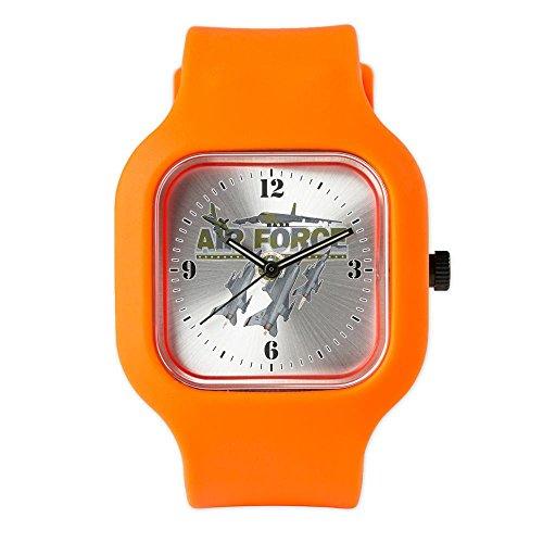 Orange Fashion Sport Watch Us Air Force Planes Fighter Jets