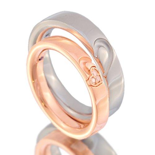 ハートペアリング ダイヤモンド ブルーサファイア 4月 9月 誕生石 シルバー 指輪 pair ring 2個セット 【メンズ:プラチナタイプ20号】【レディース:ピンクゴールドタイプ9号】