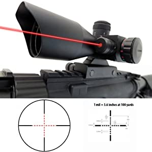Monstrum 3-9x40 Compact Rifle Scope with Illuminated Mil-Dot Reticle, Integrated Rail Mount, and Built-In Red Laser Sight