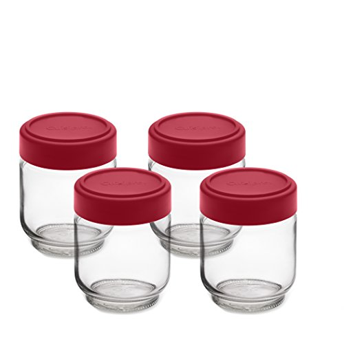 Cuisipro Leak-Proof Glass Jars (Set of 4), 6 oz, Glass/Red (Leak Proof Glass Jar compare prices)