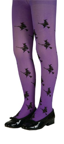 Girls Purple Glitter Witch Tights - Child Large