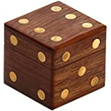 """Black Friday Sale 2015 - SouvNear 2.4"""" Wooden Square Dice Box Storage Case Container with 5 Dice Cute Dice Game Set - Christmas Holiday Presents"""