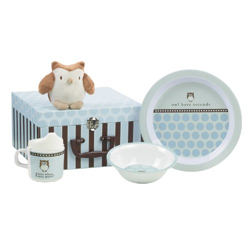 Grasslands Road Wish Come True Baby's First 3-Piece Blue Place Setting In Suitcase Gift Box with Owl Squeake Toy