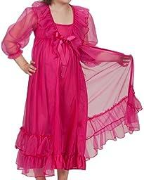 Laura Dare Big Girls Fuchsia Frilly Peignoir Nightgown Set w Scrunchie, 8