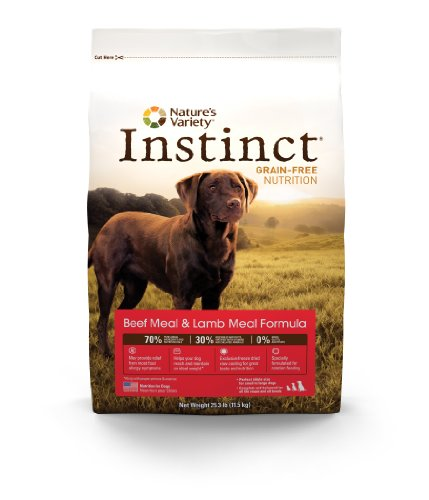 Instinct Grain-Free Beef Meal and Lamb Meal Dry Dog Food by Nature's Variety, 25.3-Pound Package