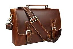 Baigio Mens Vintage Brown Genuine Leather 14 Inch Laptop Briefcase Messenger Satchel Shoulder Bag