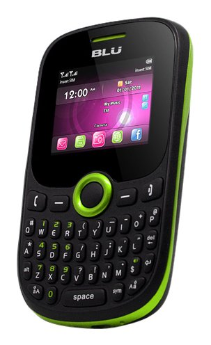 BLU Q53 Green Samba JR Unlocked Quad-Band Dual SIM Phone with QWERTY Keypad, Camera and MP3 Player – US Warranty