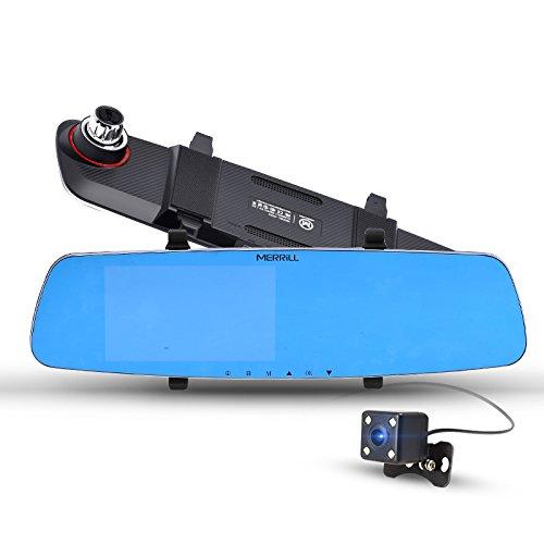 Dash-cam-double-camra-MERRILL-50-LCD-Full-HD-1080p-170--en-voiture-Dash-camra-avec-camra-arrire-vision-nocturne-G-capteur-pour-la-vido-en-temps-rel-Partager-enregistrement-en-boucle-libre-de-32-Go-SD-