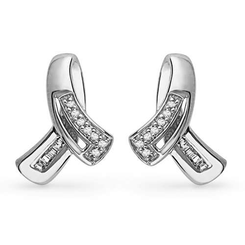 Sterling Silver Baguette and Round Diamond Fashion Earring (0.12 CTTW)